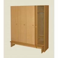 Шкаф 4-х дверный со скамьей