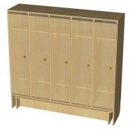 Шкаф 5-дверный со скамьей